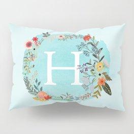Personalized Monogram Initial Letter H Blue Watercolor Flower Wreath Artwork Pillow Sham
