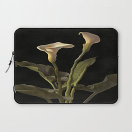 White Calla Lilies On A Black Background Laptop Sleeve