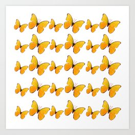 DECORATIVE WHITE  ART OF YELLOW BUTTERFLIES Art Print