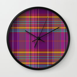 wine harmony plaid Wall Clock