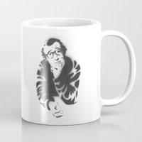 woody allen Mugs featuring Woody Allen Portrait by ochre7