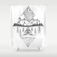 camping Shower Curtains featuring Mountain Camping by whatkatydoes