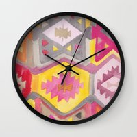 kilim Wall Clocks featuring Kilim Me Softly in Pink by Bee&Lotus