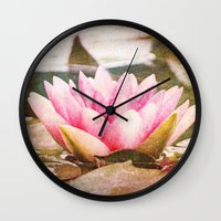 lotus flower Wall Clocks featuring Lotus by Around the Island (Robin Epstein)