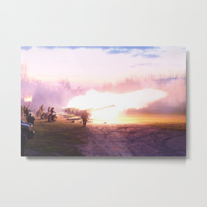 Battle scene with Artillery guns. Metal Print