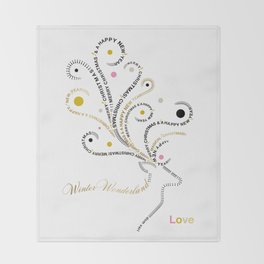 Typographic Reindeer Love - White Throw Blanket
