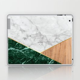 White Marble Green Granite & Wood #138 Laptop & iPad Skin