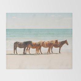 Summer Beach Horses Throw Blanket