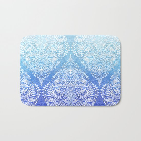 Out of the Blue - White Lace Doodle in Ombre Aqua and Cobalt Bath Mat