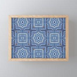 Blue Jeans Denim Quilt Patchwork Framed Mini Art Print