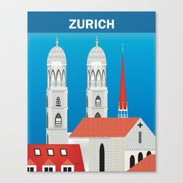 Zurich, Switzerland - Skyline Illustration by Loose Petals Canvas Print