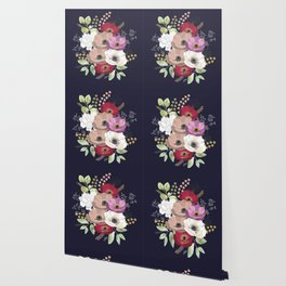 Anemones & Gardenia deep blue bouquet Wallpaper