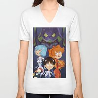 evangelion V-neck T-shirts featuring Evangelion by Sara Michieli