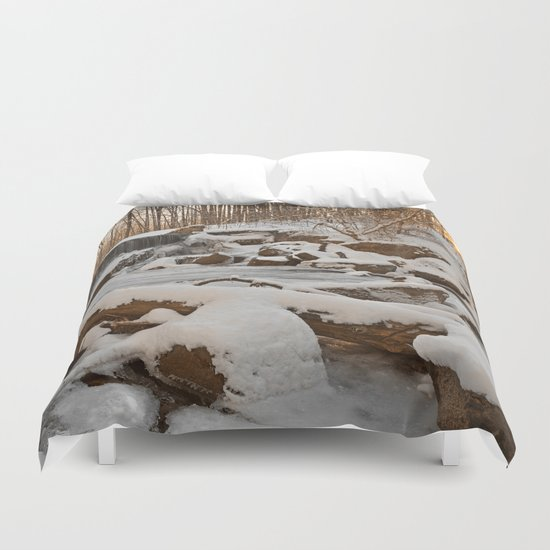 Winter Sunset Waterfall Duvet Cover