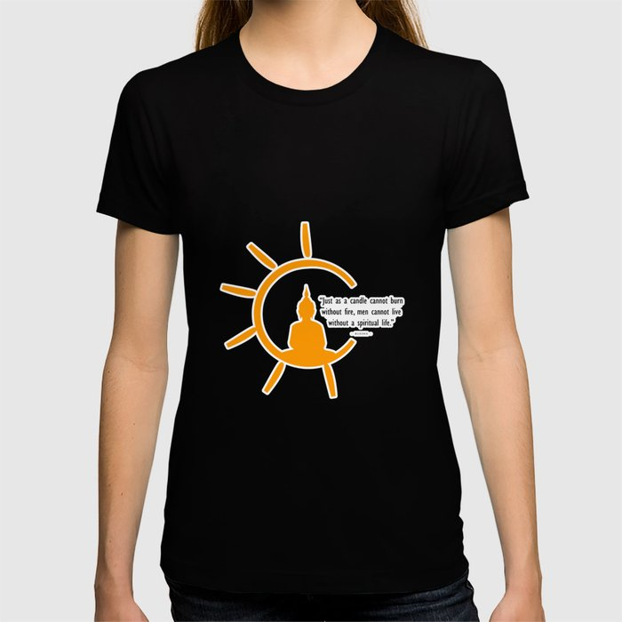 Buddha silhouette and quote inside a bright sun. T-shirt