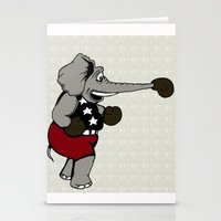 boxing Stationery Cards featuring Boxing Elephant by Adam Metzner