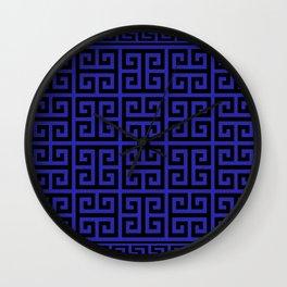 Greek Key (Navy Blue & Black Pattern) Wall Clock