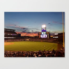 Denver Rockies 7, LA Dodgers 5, and Denver with a Beautiful Night Sky.  Canvas Print
