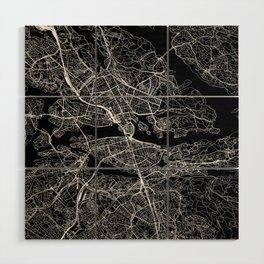 Stockholm Black Map Wood Wall Art
