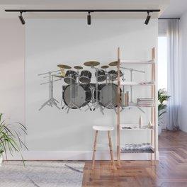 Black Drum Kit Wall Mural