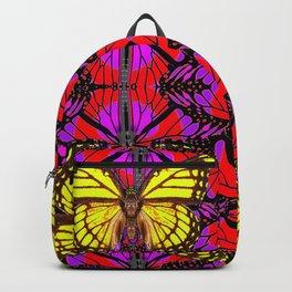VIVID GOLD MONARCH BUTTERFLIES ON RED-PURPLE ART Backpack