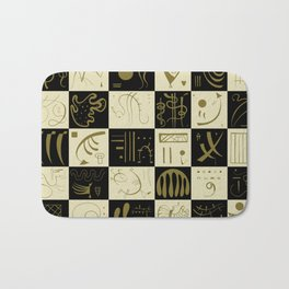 Kandinsky - Black and Gold Pattern - Abstract Art Bath Mat