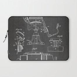 Barbers Chair Patent - Barber Art - Black Chalkboard Laptop Sleeve