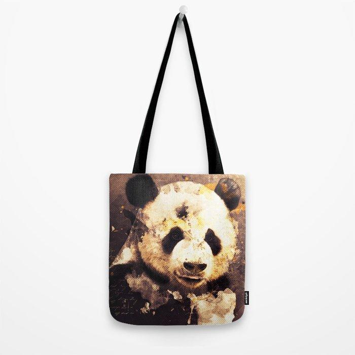 Panda Painting, Panda Mixed Media, Panda Bear, Panda Animal, Pandas Art, Panda Print, Best Panda Tote Bag