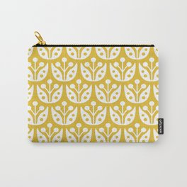 Mid Century Modern Flower Pattern Mustard Yellow Carry-All Pouch