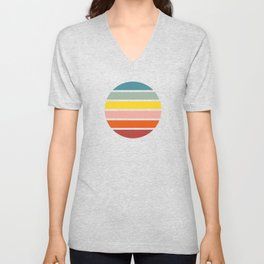Classic Retro Striped Circle - Chizuha Unisex V-Neck