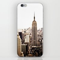 new york skyline iPhone & iPod Skins featuring New York City Skyline by Vivienne Gucwa