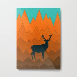 Deer silhouette in autumn Metal Print