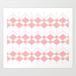 Abstract geometric pattern - pink and white. Art Print