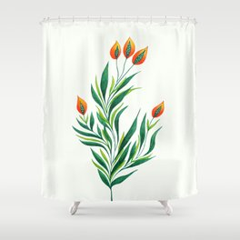 Abstract Green Plant With Orange Buds Shower Curtain