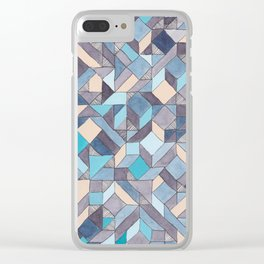 Shifitng Geometric Pattern in Blue Clear iPhone Case