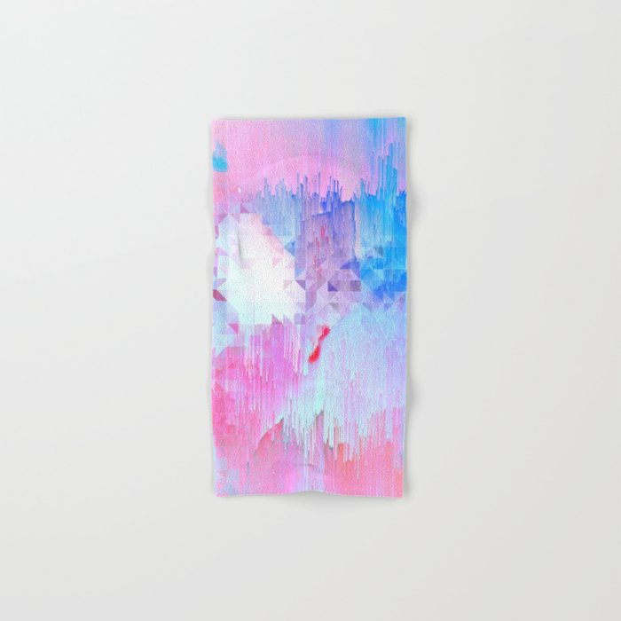 Abstract Candy Glitch - Pink, Blue and Ultra violet #abstractart #glitch Hand & Bath Towel