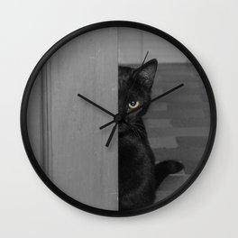 Cat playing hide and seek Wall Clock