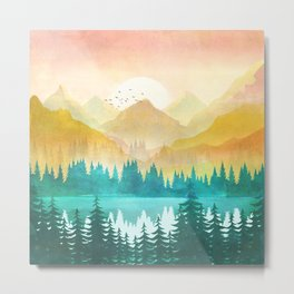 Summer Mountain Sunrise Metal Print