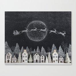 Christmas Village Chalkboard Santa & Reindeer Canvas Print