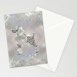 Luxury Pearl and Abalone Poodle Stationery Cards