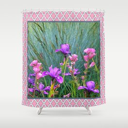 PINK-WHITE PATTERNED PURPLE & PINK IRIS GARDEN Shower Curtain