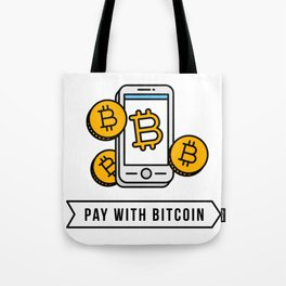 Pay With Bitcoin (Mobile Payments) Icon Tote Bag