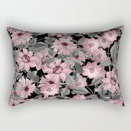 Nostalgic Floral Pattern On Black Rectangular Pillow