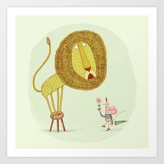'Lion & Mouse' Art Print