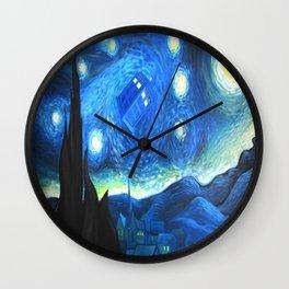 Tardis Flying Starry Night Wall Clock