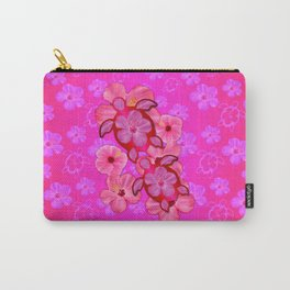 Pink Hibiscus And Honu Turtles Carry-All Pouch