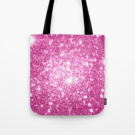 Galaxy Sparkle Stars Orchid Pink Tote Bag