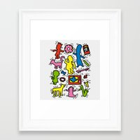 keith haring Framed Art Prints featuring Keith Haring & Simpsons by le.duc