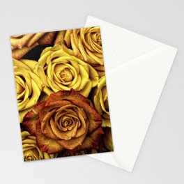 Golden Yellow Roses Pattern (Color) Stationery Cards