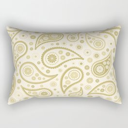 Paisley Funky Design Gold & Cream Rectangular Pillow